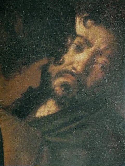 Caravaggio. El martirio de San Mateo, detalle del supuesto autorretrato del pintor.