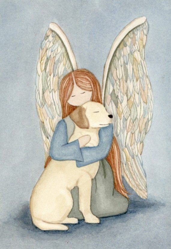 Golden Yellow Lab (labrador retriever) with angel / Lynch signed folk art print