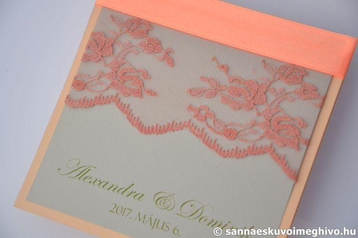Liliom esküvői meghívó, meghívó, csipkés esküvői meghívó, rózsaszín esküvői meghívó, szalagos esküvői meghívó, sannaeskuvoimeghivo, egyedi esküvői meghívó, wedding card