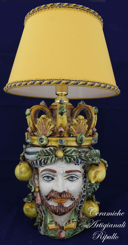 Bedside lamp Head King Ceramic Caltagirone Lume Testa Re in Ceramica di Caltagirone www.ceramicheripullo.com