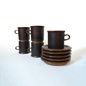 Arabia Ruska Mugs With Saucers now featured on Fab.