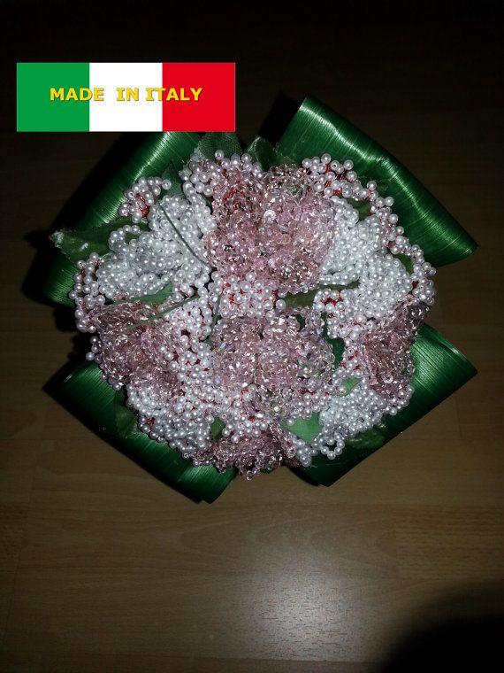 BOUQUET cristalli e perline (artigianato Italiano) made in Italy