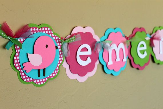 Birdie NAME Banner Hot Light Pink Polka Dot Green Turquoise Shabby Chic Birthday Party Decorations Bird Baby Shower Girl First Pottery Barn