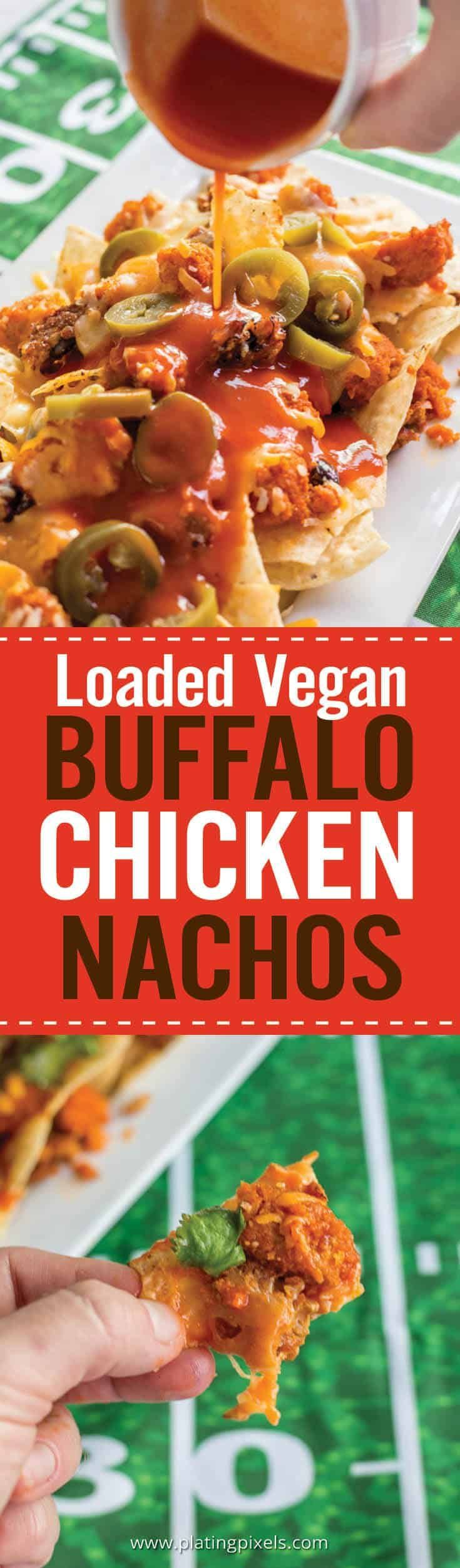 Quick and easy Loaded Vegan Buffalo Chicken Nachos to go with your football party appetizers. Vegan chicken with buffalo sauce, black beans, vegan cheese, cilantro, and jalapenos over tortilla chips. #superbowl #superbowlappetizer #nacos #vegan #vegansuperbowl #buffalosauce - platingpixels.com