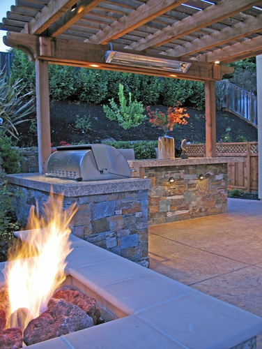 Fire pit, BBQ, and Arbor a Heater - traditional - landscape - san francisco - by Alder Group, Pool and Landscape Co.