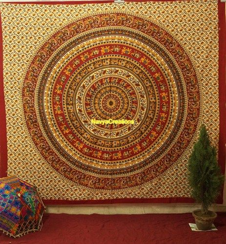 Hippie Hippy Indian Tapestry Wall Hanging Elephant Mandala Bohemian Bedspread .  Beautiful Indian Elephant Star mandala Throw wall hanging Bedspread . This tapestry features swirling floral pattern, with an Mandala medallion. Perfect for topping a bed, couch, wall or your favourite chair .