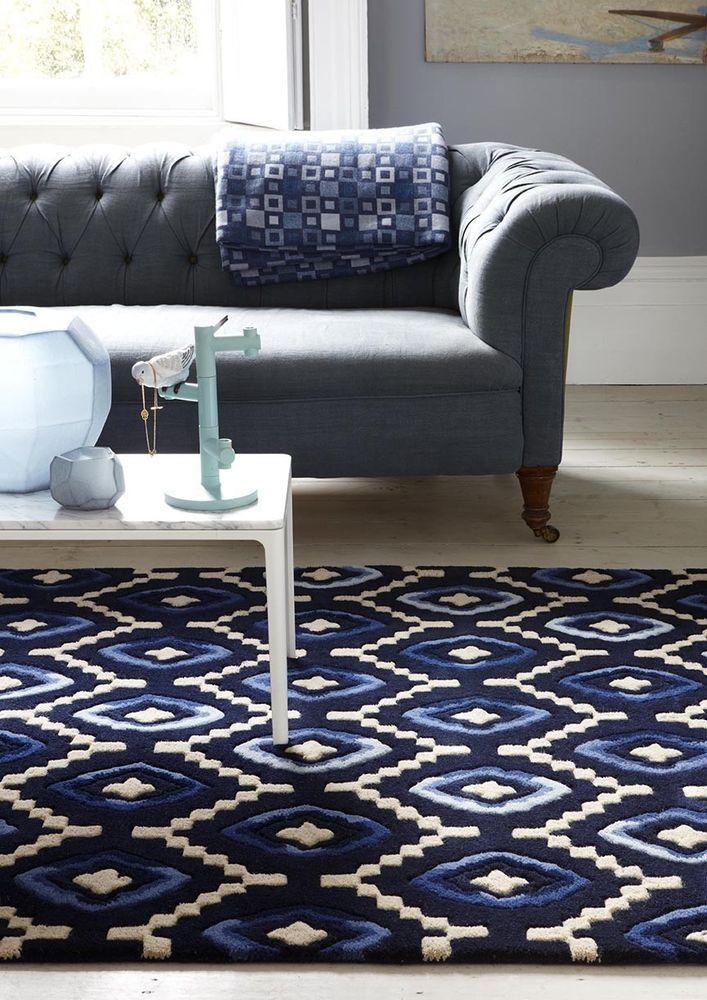 Plantation Origins Black Blue Designer Wool Rug In Various Sizes From 150 CompanyLiving Room