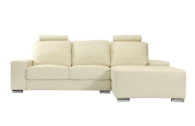Soldes Canapé d'angle cuir design crème DALLAS prix promo Soldes Miliboo 1 099,00 € TTC au lieu de 1 399,00 €