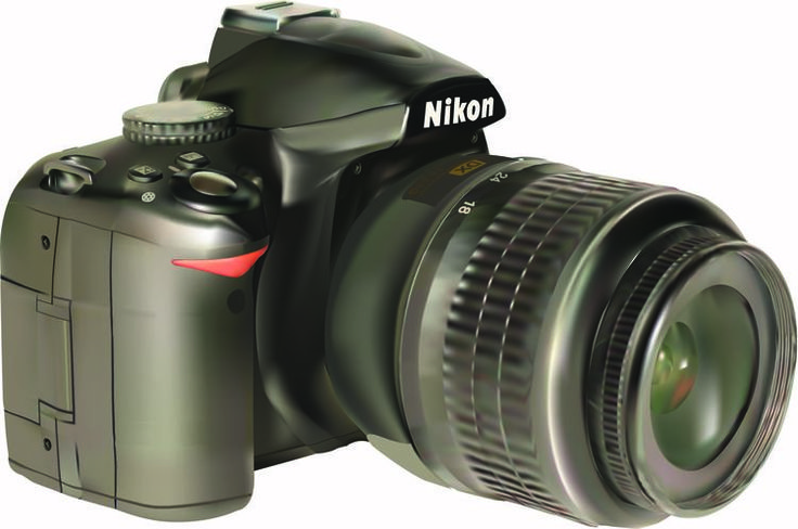 Nikon D3000 Technical Illustration by Kelly Pullen