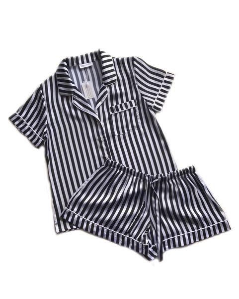 BLACK & WHITE STRIPED PYJAMA SET