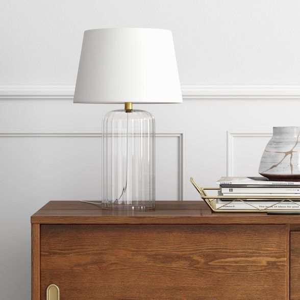 Small Ribbed Glass Led Table Lamp Clear Includes Energy Efficient Light Bulb Project 62 In 2020 Clear Glass Table Lamp Energy Efficient Light Bulbs Glass Table Lamp