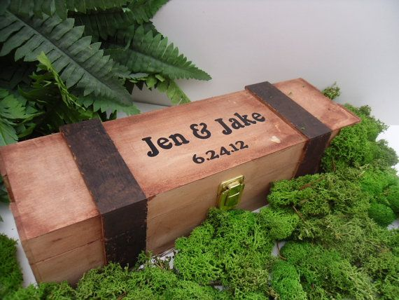 Wedding Wine Box Handpainted and Personalized by willowroaddesigns, $38.00
