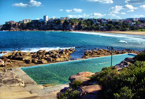 Yes....this is about 50 yards from my front door.... I LOVE it here :) sydney is beautiful! (Freshwater Beach ocean bath. Queenscliff in distance)