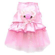 Dog Cat Bow Tutu Dress Lace Skirt Pet Puppy Dog Princess Costume Apparel Clothes Lovely Flowers, Pink XXS(China)