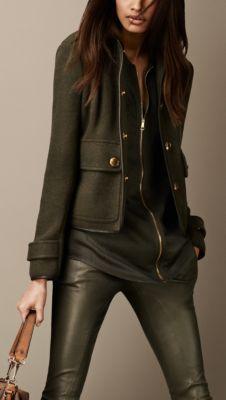 Burberry Leather Detail Heritage Jacket in Olove Melange