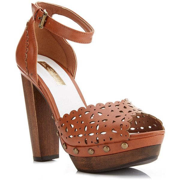 Miss Selfridge FRANCISCO Tan High Sandal (€61) found on Polyvore