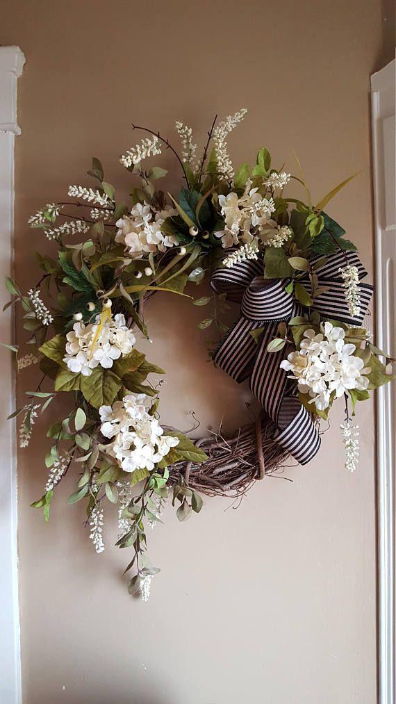 Farmhouse wreathrustic wreathfront door wreathwhite wreathcream wreatheveryday