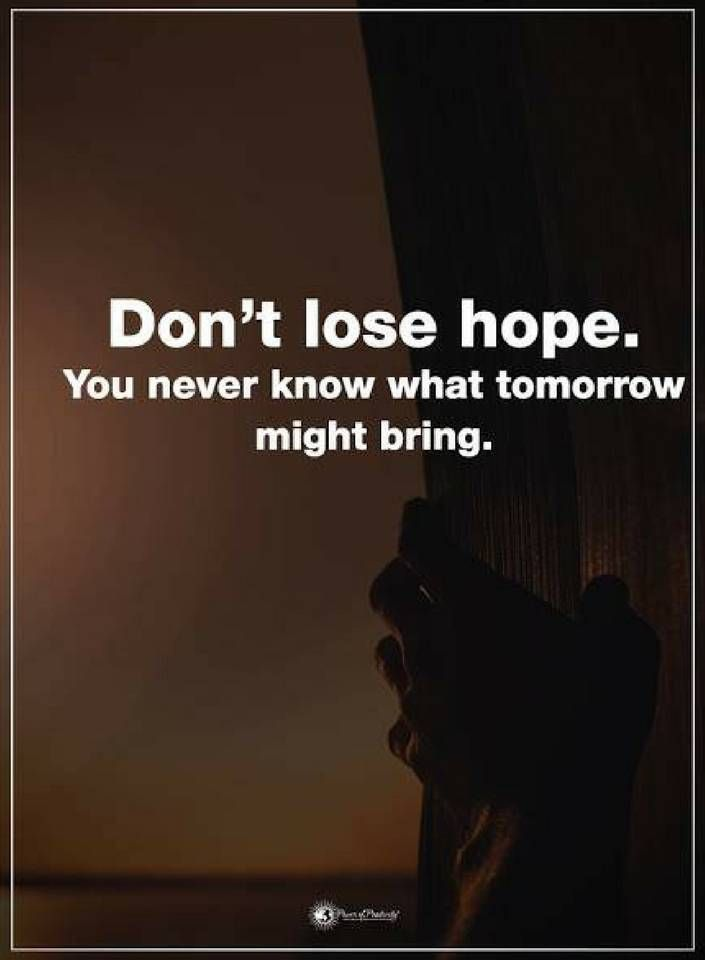 Don't lose hope you never know what tomorrow might bring. Quotes