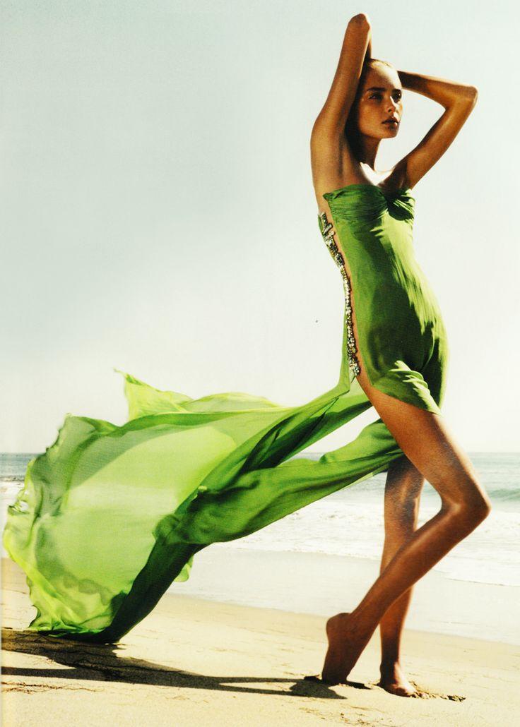 Snejana Onopka in Roberto Cavalli | Ph. by Mario Sorrenti | French Vogue February 2006