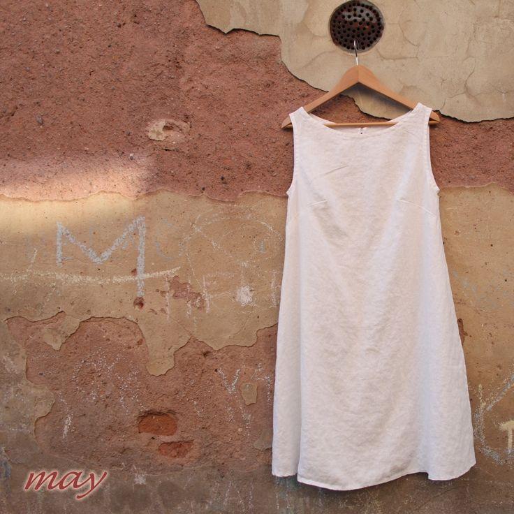 may dress linen lino lina leinen pure natural comfortably eco friendly white