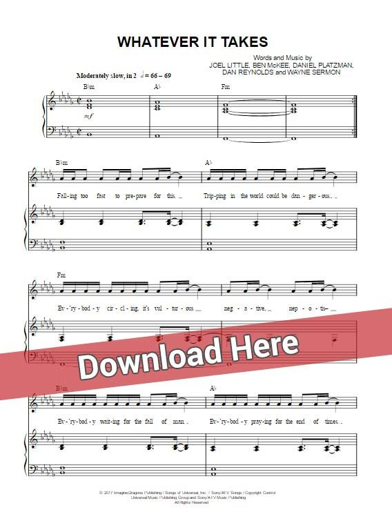 imagine dragons whatever it takes sheet music, piano notes