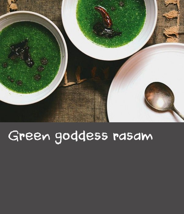 Green goddess rasam | One of my favourite South Indian soups is rasam (pronounced rus-um), which can best be described as a spiced, fiery, peppery broth that is rather light yet wholesome. Rasam is also considered by some to have a healing touch. Instead of going with the traditional tomato-based recipe that makes a reddish-brown rasam, I've taken a few liberties along with a little inspiration from a rasam we tried at modern Indian restaurant in Bombay, as well as green goddess dressing…