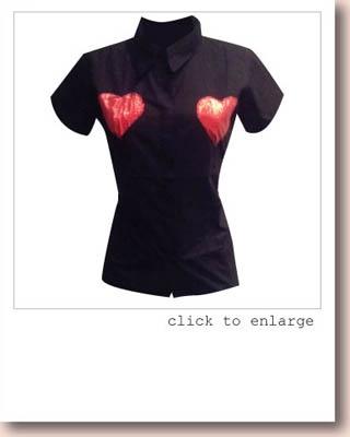 PRETTY DISTURBIA ALTERNATIVE METALLIC HEART APPLIQUE KITSCH SHIRT £22.99