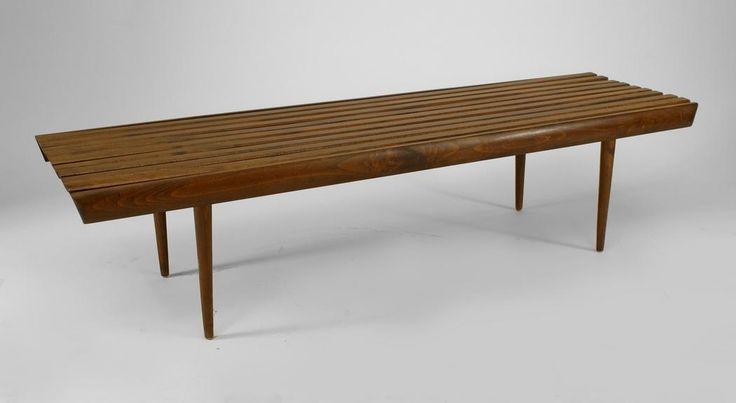 Post-War Design Scandinavian seating bench/stool walnut