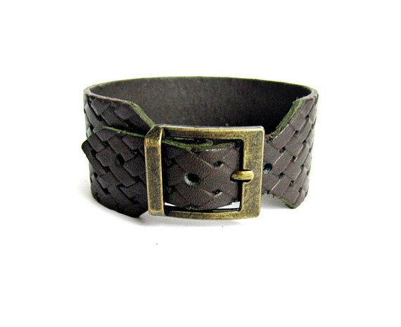Mens leather cuff bracelet bronze buckle brown leather bracelet leather cuff wristband gift for him adjustable leather bracelet mens jewelry