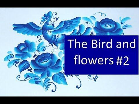 irishkalia - Bird and Flowers gzhel Russian painting...#2