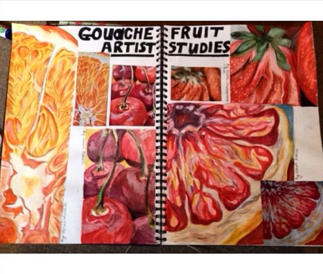 Fruit studies in guashe #gcseart #sketchbook #pages #gcse