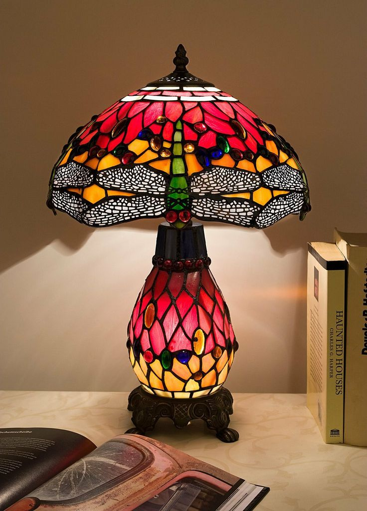 tiffany style table lamp with lit base red dragonfly. Black Bedroom Furniture Sets. Home Design Ideas