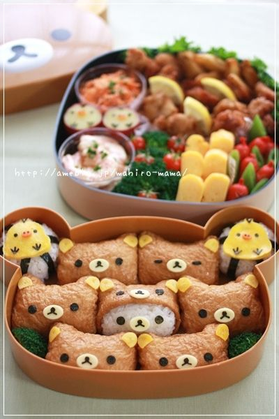 The inari bears would be easy and fun. picnic bento with inari zushi (my favorite, although I've never seem them like a teddy bear before)