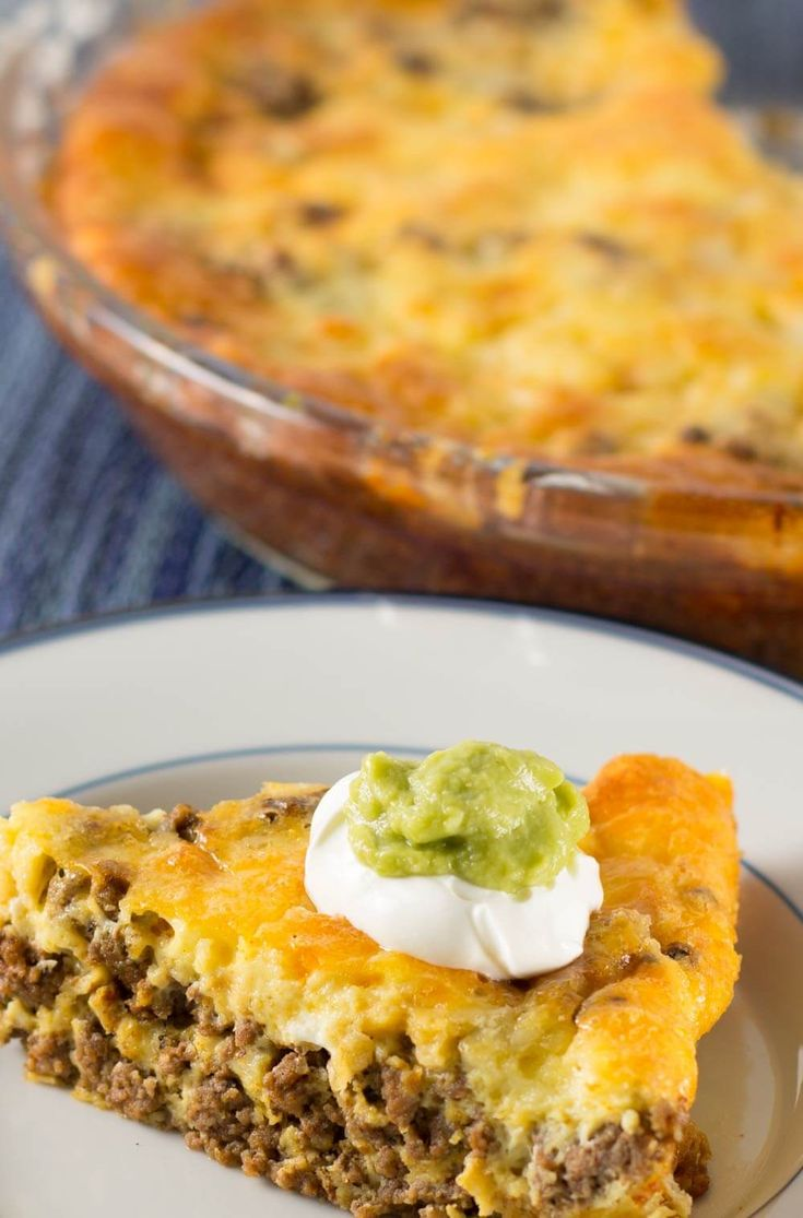 A piece of crustless low carb taco pie