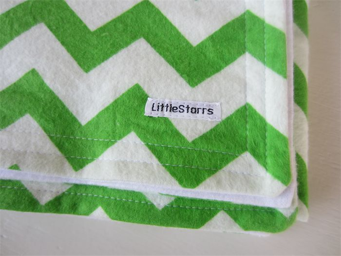 Apple Green and White Zig Zag Flannel Baby Blanket | by LittleStarrs |