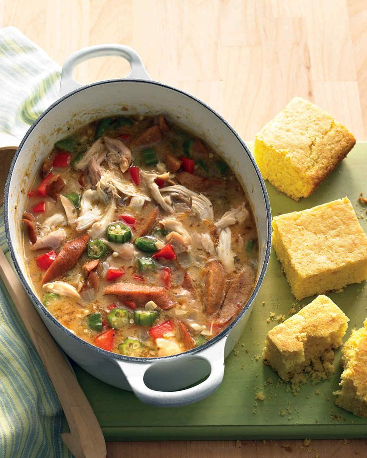 Half-Hour Chicken Gumbo | Martha Stewart Living - Rotisserie chicken, precooked andouille sausage, and frozen okra are the secret shortcuts that get this stew on the table in 30 minutes. Bake a batch of cornbread while the gumbo simmers.