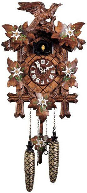 """Hones 14"""" Quartz Carved 353Q Cuckoo Clock – Stunning hand painting! This is a beautiful clock with just the right amount of color. It keeps it traditional but is also very eye catching. The detail work is more than up to the standard Hones quality. Offered by Designed in Time"""