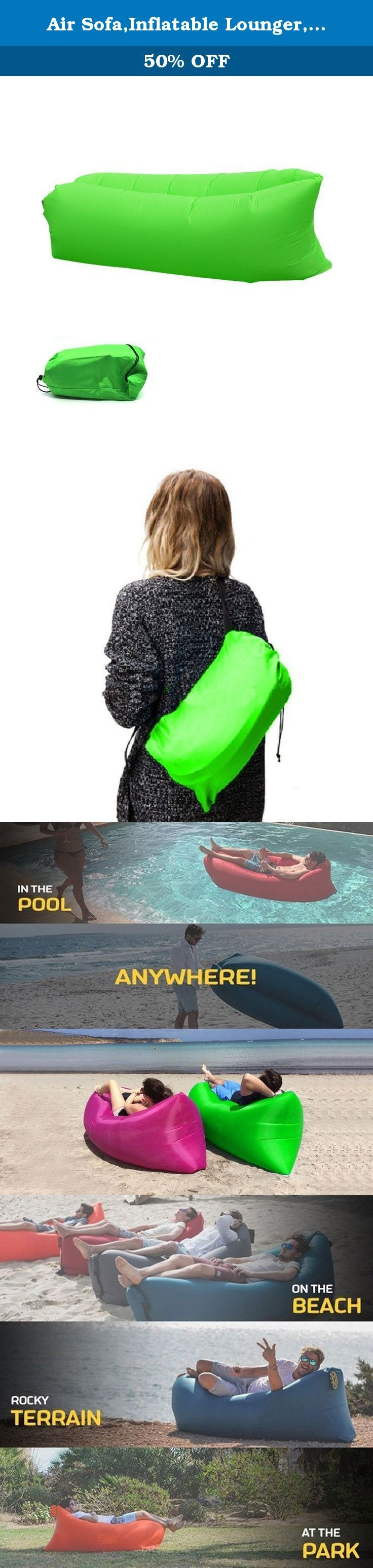 Air Sofa,Inflatable Lounger,Lazy Sofa,Air Bag,Indoor Outdoor Sleeping Bed for Camping Hiking Fishing Swimming Pool(Green). Specifications: Size: 96 x 27.6inches Weight: 0.9kg (1.98lbs ) Max Load: 250kg Read Below Before Using If it is windy outside congratulations to you, you can fast inflatable. If there is no wind outside it may be a little difficult, you may need to run 10 meters; and if you are tring to inflate it indoor, we will suggest a fan orsomething like that! 80% Air is enough...