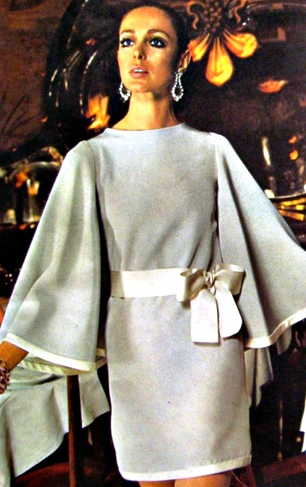 "Christian Dior 1969 ... I owned the ""knock off"" of this dress ... thought I was killer model type in it ... oh, to look at it now ... OMG - those sleeves !!!!"
