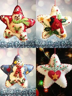 Christmas cat/bird/snowman/heart star Handcrafted felt