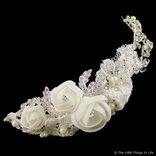 Beverly Rosebud & Crystal Bridal Hair Comb (Silver) - Photo 1