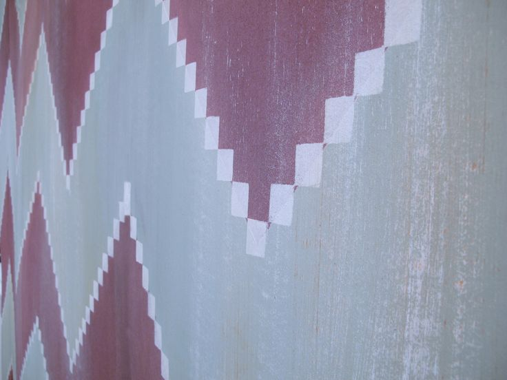 Detail of handpainted wallpaper. Ikat collection.