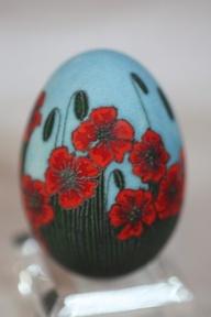 blue and red poppy pysanka
