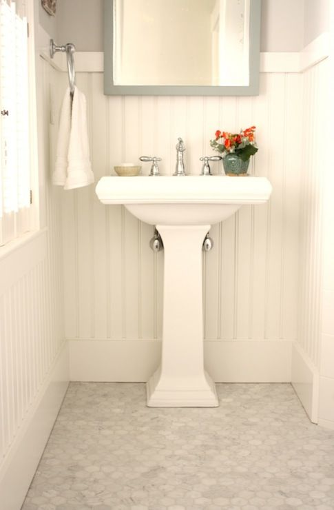 For the Love of a House - bathrooms - Benjamin Moore - Horizon - Benjamin Moore White Dove, white, carrara, marble, hex, tiles, floor, white...