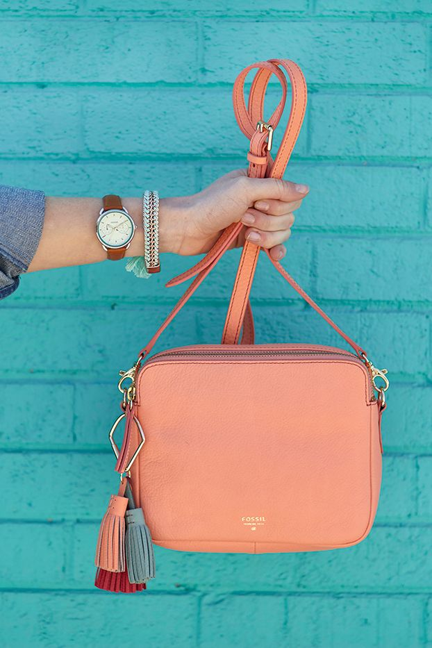 Papaya and seaglass. The Tailor boyfriend watch and our Sydney Crossbody, the both make a perfect pairing.