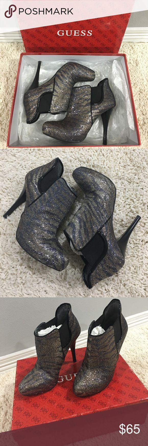 💙💜Guess Zebra striped ankle booties💜💙 🖤💜💙Like new✨, used only once for a New Years get together.✨Great condition 👌🏼💙💜🖤 They're super cute but the 3 1/2 inch heel is a little too high for me 💜🖤💙 Guess Shoes Ankle Boots & Booties