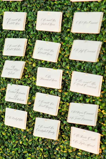 Gold Foil Placecards On Boxwood My Wedding Pinterest