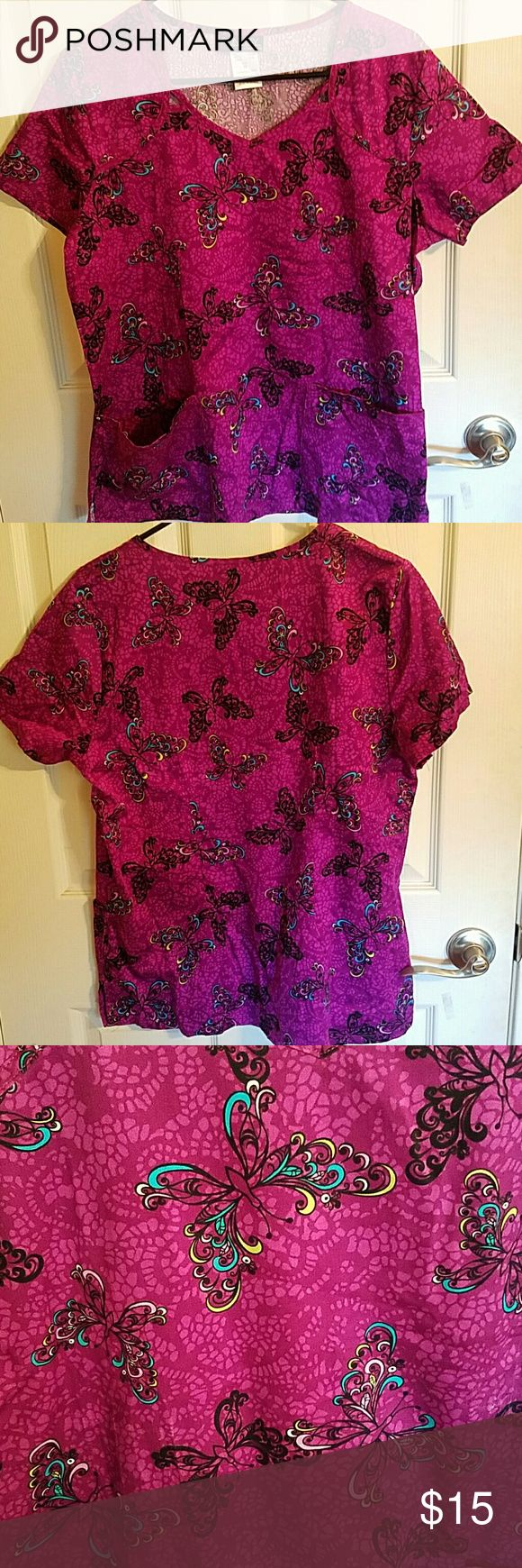Cherokee brand uniform scrub top Uniform scrub top. Runway by Cherokee brand. Butterfly print. Size medium. 2 bottom pockets Cherokee Other