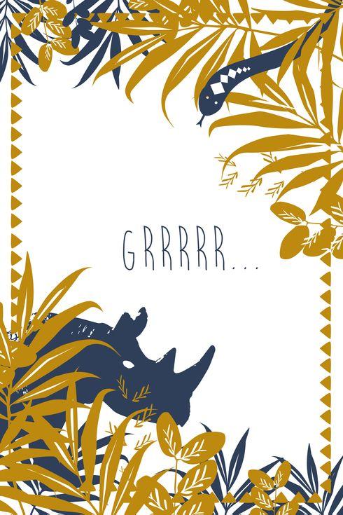 carte anniversaire Jungle by Le Collectif pour www.fairepartnaissance.fr…