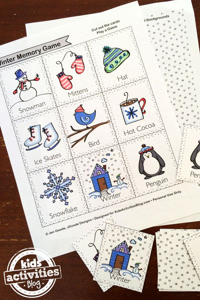 Play the Memory Game with this cute winter memory game printable.